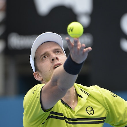 _PB10900 - 12th January 2017, Day 5, APIA International Sydney Tennis. Gilles MULLER (LUX) defeats Pablo CUEVAS 7-6 6-4 Muller in action