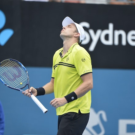 _PB10912 - 12th January 2017, Day 5, APIA International Sydney Tennis. Gilles MULLER (LUX) defeats Pablo CUEVAS 7-6 6-4 Muller in action
