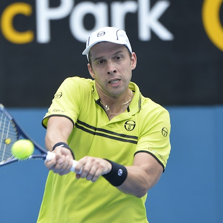 _PB10915 - 12th January 2017, Day 5, APIA International Sydney Tennis. Gilles MULLER (LUX) defeats Pablo CUEVAS 7-6 6-4 Muller in action