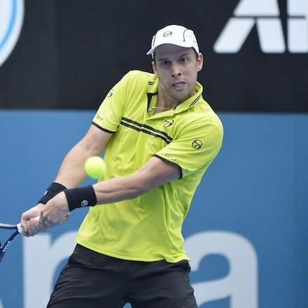 _PB10917 - 12th January 2017, Day 5, APIA International Sydney Tennis. Gilles MULLER (LUX) defeats Pablo CUEVAS 7-6 6-4 Muller in action