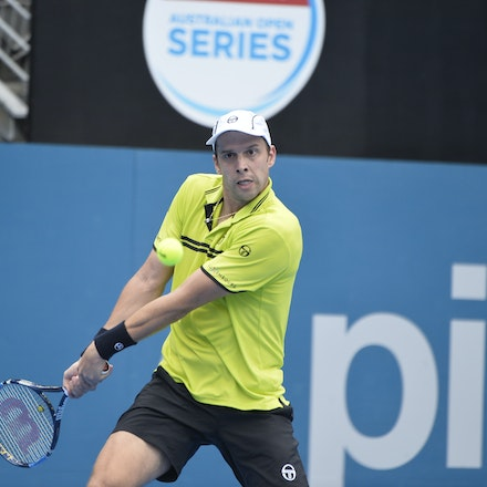 _PB10920 - 12th January 2017, Day 5, APIA International Sydney Tennis. Gilles MULLER (LUX) defeats Pablo CUEVAS 7-6 6-4 Muller in action