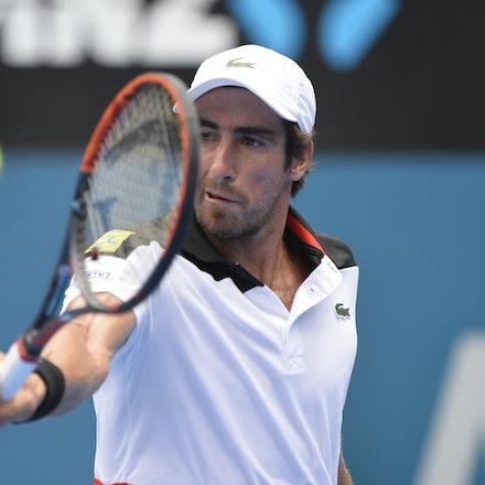 _PB10961 - 12th January 2017, Day 5, APIA International Sydney Tennis. Gilles MULLER (LUX) defeats Pablo CUEVAS 7-6 6-4 Cuevas in action