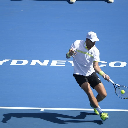 _PB12607 - 13th January 2017, Day 6, APIA International Sydney Tennis. Gilles MULLER (LUX) defeats Victor TROICKI  (SRB) 6-3 7-6 Muller in action