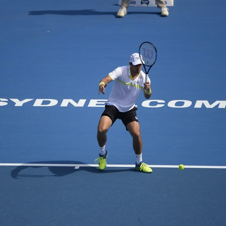 _PB12629 - 13th January 2017, Day 6, APIA International Sydney Tennis. Gilles MULLER (LUX) defeats Victor TROICKI  (SRB) 6-3 7-6 Muller in action
