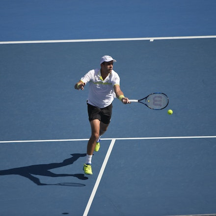 _PB12691 - 13th January 2017, Day 6, APIA International Sydney Tennis. Gilles MULLER (LUX) defeats Victor TROICKI  (SRB) 6-3 7-6 Muller in action