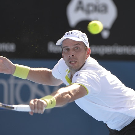 _PB12781 - 13th January 2017, Day 6, APIA International Sydney Tennis. Gilles MULLER (LUX) defeats Victor TROICKI  (SRB) 6-3 7-6 Muller in action