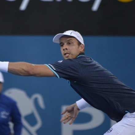 _PB13760 - 14th January 2017, Day 7, APIA International Sydney Tennis. Men's Final. Gilles MULLER (LUX) defeats Daniel EVANS (GBR) in straight sets 7-6...
