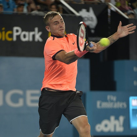 _PB13994 - 14th January 2017, Day 7, APIA International Sydney Tennis. Men's Final. Gilles MULLER (LUX) defeats Daniel EVANS (GBR) in straight sets 7-6...