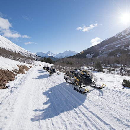_DSC1605 - Snowmobiling at the base of the Chugach Mountains.