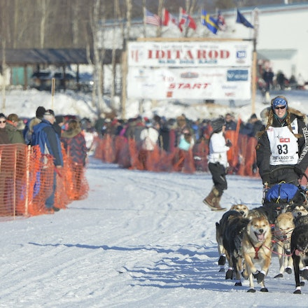 _PB12727 - 2016, March 6th. The start to the 2016 Itidarod, Dogsled race. Dubbed as the Last Great Race.  Mushers leave Willow for the start of the 1049...