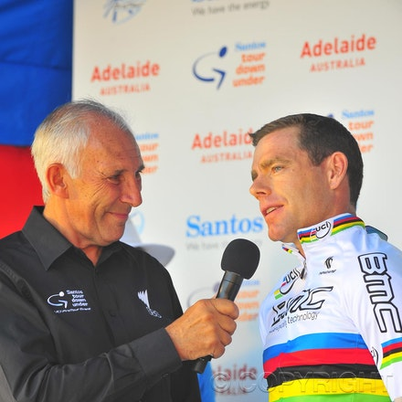 100117_cancer_council_PBP0102 - 17 January 2010, 2010 Cancer Council Helpline Classic, Adelaide, Australia. Cadel Evans being interviewed by Phil Liggett...
