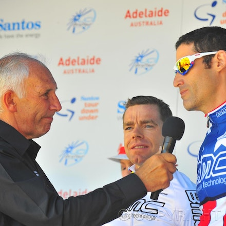 100117_cancer_council_PBP0106 - 17 January 2010, 2010 Cancer Council Helpline Classic, Adelaide, Australia. George Hincapie from USA being interviewed...