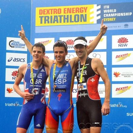 DSC_0618 - 10.04.2011 Dextro Energy Triathlon from Sydney Australia. Javier Gomez (ESP), Jonathan Brownlee (GBR) and Sven Riederer (SUI) stand on the Podium