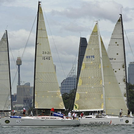_DSC1853 - 18.12.2011. Sydney, Australia. Day 3. Rolex Trophy Passage Series. Yachts prepare before the star of the race. Shown here is Victoire (Sail...