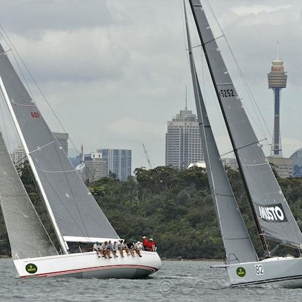 _DSC2071 - 18.12.2011. Sydney, Australia. Day 3. Rolex Trophy Passage Series. Calm skippered by Jason Van Der Slot and Ginger skippered by Leslie Green...