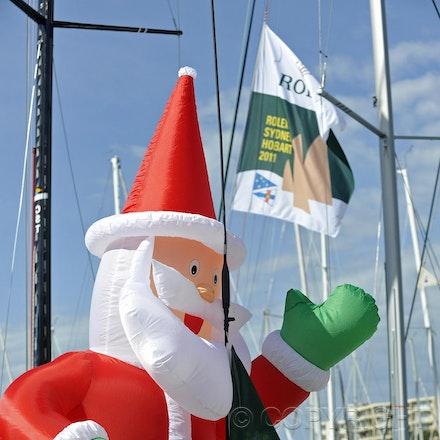 _DSC3313 - 26.12.2011. Sydney, Australia. Rolex Sydney to Hobart Yacht Race 2011. Santa makes an appearance on the docks of the Cruising Yacht Club of...