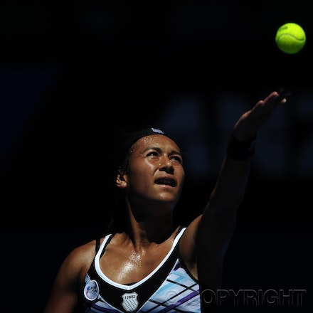 201201_Blakeman_014588 - 16.01.2012 Melbourne, Australia. Watson in action during the Women's first round game. Victoria Azarenka (BLR) V Heather Watson...