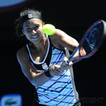 201201_Blakeman_014715 - 16.01.2012 Melbourne, Australia. Watson in action during the Women's first round game. Victoria Azarenka (BLR) V Heather Watson...