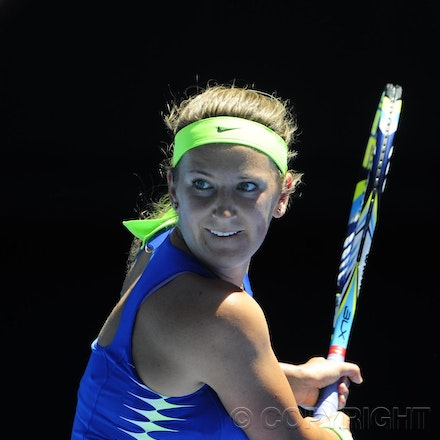201201_Blakeman_014749 - 16.01.2012 Melbourne, Australia. Azeranka in action during the Women's first round game. Victoria Azarenka (BLR) V Heather Watson...