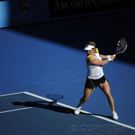 201201_Blakeman_015513 - 16.01.2012 Melbourne, Australia. Clijsters in action during the women's first round game. Kim Clijsters (BEL) V Maia Joao Koehler...