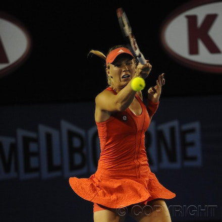 201201_Blakeman_016426 - 16.01.2012 Melbourne, Australia. in action during the women's first round game. Caroline Wozniaki (DEN) V Anastasia Rodionova...