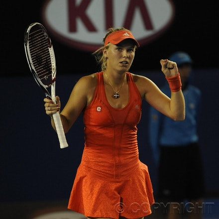 201201_Blakeman_016463 - 16.01.2012 Melbourne, Australia. Wozniaki celebrates her win during the women's first round game. Caroline Wozniaki (DEN) V Anastasia...