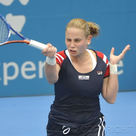201201_Blakeman_001674 - 08.01.2012 Australian Apia International from Sydney. Jelena Dokic (Aus) V Isabella Holand (Aus) on centre court at Sydney Olympic...