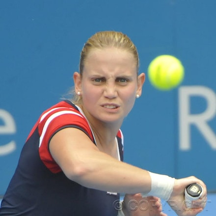 201201_Blakeman_001683 - 08.01.2012 Australian Apia International from Sydney. Jelena Dokic (Aus) V Isabella Holand (Aus) on centre court at Sydney Olympic...