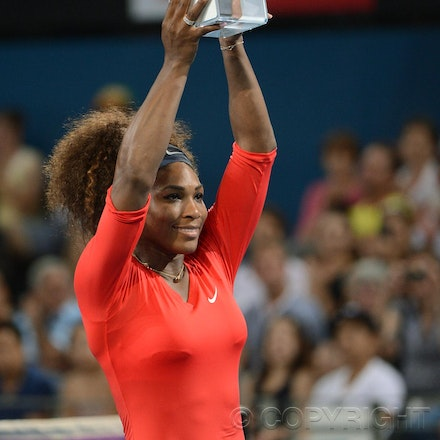 Blakeman_2013_0003596 - 5/1/13, Brisbane, Australia, Day 7 of the Brisbane International Tennis Held on Pat Rafter Arena. Serena WILLIAMS (USA) defeats...