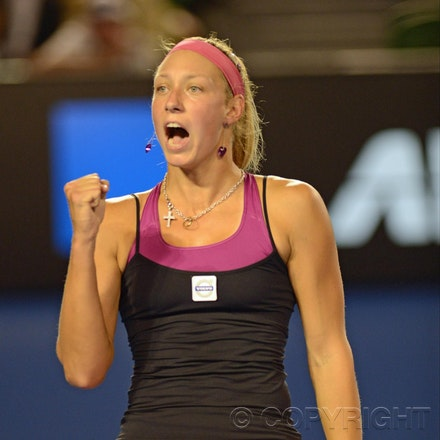 Blakeman_2013_0008553 - 15/1/13, Melbourne, Australia, Day 2 of the Australian Open Tennis. Yanina WICKMAYER (BEL) defeats Jarmila GAJDOSOVA (AUS) 6-1,...