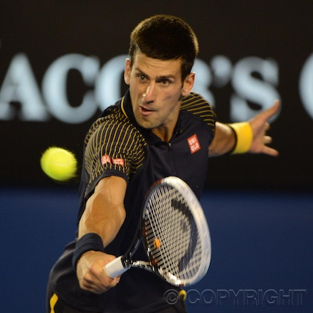 Blakeman_2013_0010590 - 16/1/13, Melbourne, Australia, Day 3 of the Australian Open Tennis. Novak DJOKOVIC (SRB) defeats Ryan HARRISON (USA) 6-1, 6-2,...