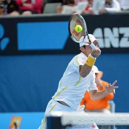 Blakeman_2013_0014375 - 18/1/13, Melbourne, Australia, Day 5 of the Australian Open Tennis. Kei NISHIKORI (JPN) defeats Evgeny DONSKOY (RUS) 7(7)-6(3),...