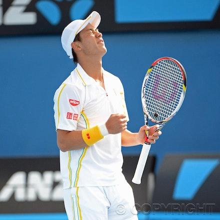 Blakeman_2013_0014540 - 18/1/13, Melbourne, Australia, Day 5 of the Australian Open Tennis. Kei NISHIKORI (JPN) defeats Evgeny DONSKOY (RUS) 7(7)-6(3),...