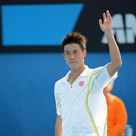 Blakeman_2013_0014590 - 18/1/13, Melbourne, Australia, Day 5 of the Australian Open Tennis. Kei NISHIKORI (JPN) defeats Evgeny DONSKOY (RUS) 7(7)-6(3),...