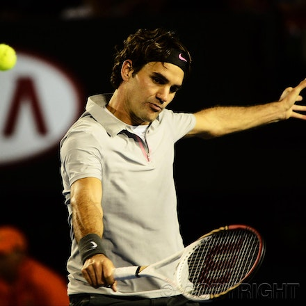Blakeman_2013_0017371 - 18/1/13, Melbourne, Australia, Day 6 of the Australian Open Tennis. Roger FEDERER (SUI) defeats Bernard TOMIC (AUS) 6-4, 7(7)-6(5),...
