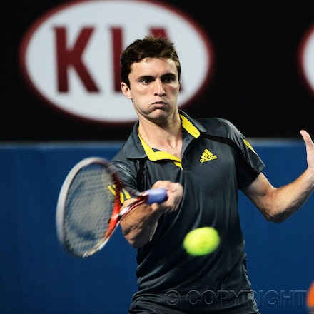 Blakeman_2013_0017835 - 18/1/13, Melbourne, Australia, Day 6 of the Australian Open Tennis. Gilles SIMON (FRA) Defeats Gilles SIMON (FRA) 6-4, 6-4, 4-6,...