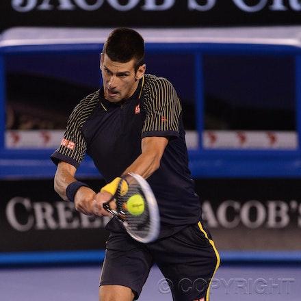Blakeman_2013_0020601 - 19/1/13, Melbourne, Australia, Day 7 of the Australian Open Tennis. Novak DJOKOVIC (SRB)defeats Stanisias WAWRINKA (SUI) 1-6, 7-5,...