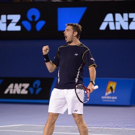 Blakeman_2013_0020670 - 19/1/13, Melbourne, Australia, Day 7 of the Australian Open Tennis. Novak DJOKOVIC (SRB)defeats Stanisias WAWRINKA (SUI) 1-6, 7-5,...