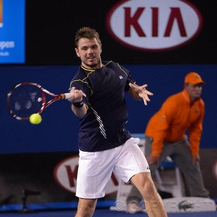 Blakeman_2013_0020968 - 19/1/13, Melbourne, Australia, Day 7 of the Australian Open Tennis. Novak DJOKOVIC (SRB)defeats Stanisias WAWRINKA (SUI) 1-6, 7-5,...