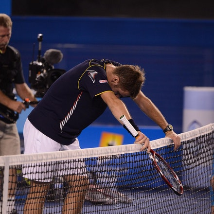 Blakeman_2013_0021104 - 19/1/13, Melbourne, Australia, Day 7 of the Australian Open Tennis. Novak DJOKOVIC (SRB)defeats Stanisias WAWRINKA (SUI) 1-6, 7-5,...