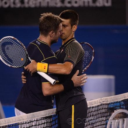 Blakeman_2013_0021121 - 19/1/13, Melbourne, Australia, Day 7 of the Australian Open Tennis. Novak DJOKOVIC (SRB)defeats Stanisias WAWRINKA (SUI) 1-6, 7-5,...