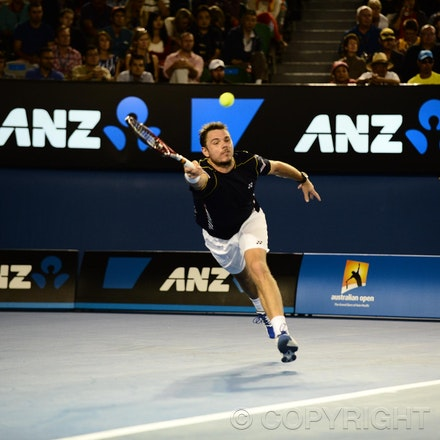 Blakeman_2013_0021276 - 19/1/13, Melbourne, Australia, Day 7 of the Australian Open Tennis. Novak DJOKOVIC (SRB)defeats Stanisias WAWRINKA (SUI) 1-6, 7-5,...