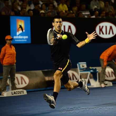 Blakeman_2013_0021286 - 19/1/13, Melbourne, Australia, Day 7 of the Australian Open Tennis. Novak DJOKOVIC (SRB)defeats Stanisias WAWRINKA (SUI) 1-6, 7-5,...