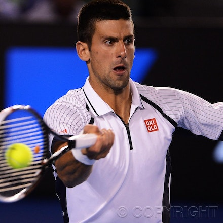 Blakeman_2013_0026118 - 22/1/13, Melbourne, Australia, Day 9 of the Australian Open Tennis. Novak DJOKOVIC (SRB) defeats Tomas BERDYCH 6-1, 4-6, 6-1, 6-4