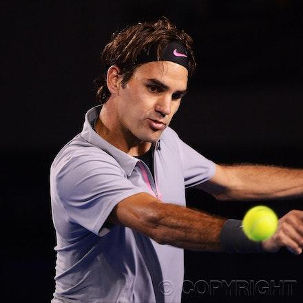 Blakeman_2013_0028819 - 23/1/13, Melbourne, Australia, Day 10 of the Australian Open Tennis. Roger FEDERER (SUI) defeats Jo-Wilfried TSONGA (FRA) 7(7)-6(4),...