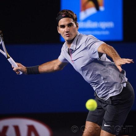 Blakeman_2013_0028843 - 23/1/13, Melbourne, Australia, Day 10 of the Australian Open Tennis. Roger FEDERER (SUI) defeats Jo-Wilfried TSONGA (FRA) 7(7)-6(4),...