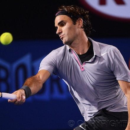 Blakeman_2013_0028844 - 23/1/13, Melbourne, Australia, Day 10 of the Australian Open Tennis. Roger FEDERER (SUI) defeats Jo-Wilfried TSONGA (FRA) 7(7)-6(4),...