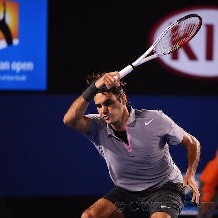 Blakeman_2013_0028854 - 23/1/13, Melbourne, Australia, Day 10 of the Australian Open Tennis. Roger FEDERER (SUI) defeats Jo-Wilfried TSONGA (FRA) 7(7)-6(4),...