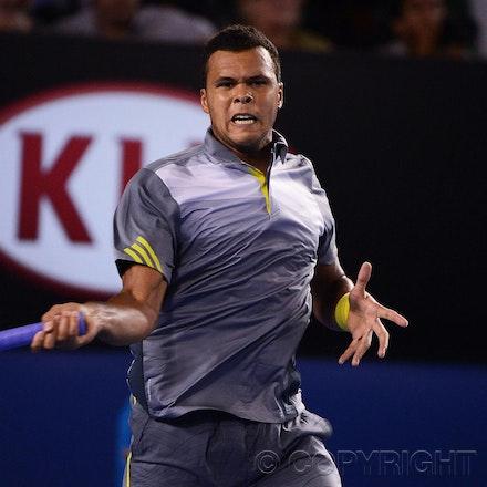 Blakeman_2013_0028878 - 23/1/13, Melbourne, Australia, Day 10 of the Australian Open Tennis. Roger FEDERER (SUI) defeats Jo-Wilfried TSONGA (FRA) 7(7)-6(4),...