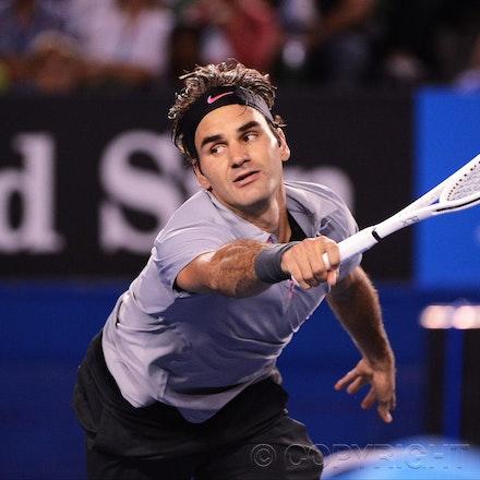 Blakeman_2013_0028898 - 23/1/13, Melbourne, Australia, Day 10 of the Australian Open Tennis. Roger FEDERER (SUI) defeats Jo-Wilfried TSONGA (FRA) 7(7)-6(4),...